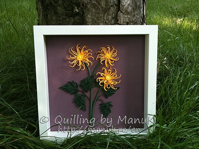 Quilled Yellow Cactus Dahlias in a Shadowbox Frame