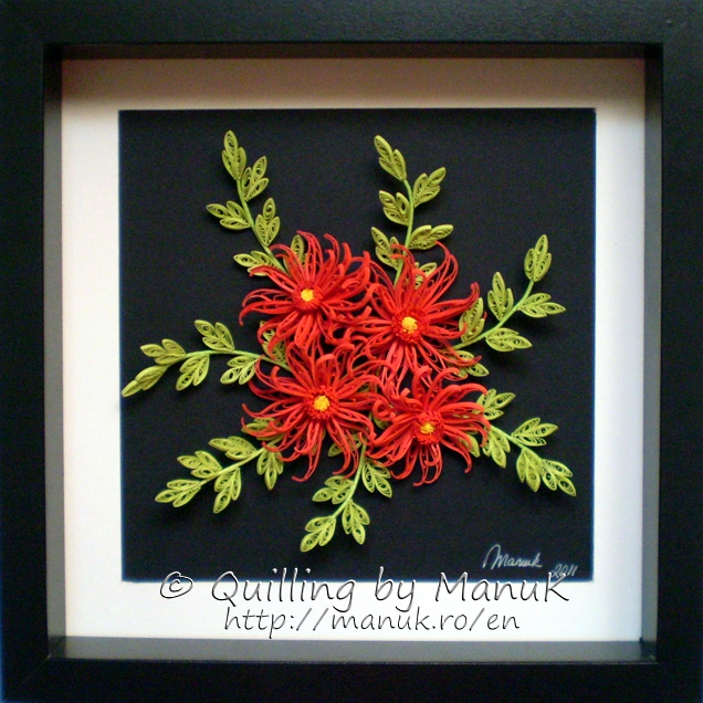 Quilled Red Dahlias in a Shadowbox Frame