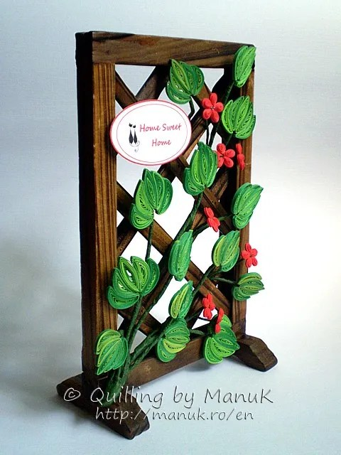 Home Sweet Home – Bamboo Screen Decorated with Quilled Flowers and Leaves