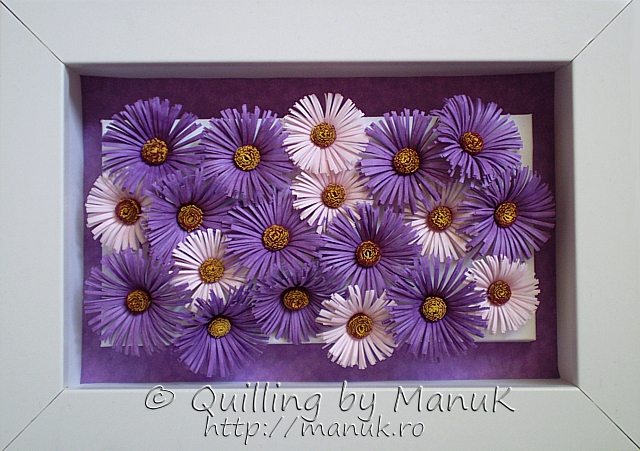 Quilled Purple Asters in a Small Shadowbox Frame