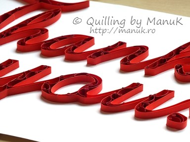 """Quilled """"Thank You!"""" Paper Graphic - Side View"""