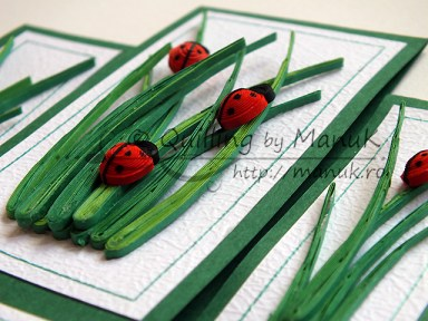 Birthday Greeting Card with Quilled Ladybugs and Grass - Detail