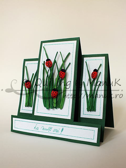 Birthday Greeting Card with Quilled Ladybugs and Grass
