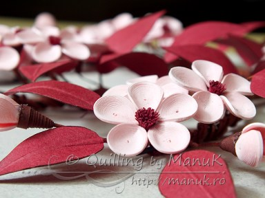 Quilled Cherry Plum Blossom - Detail