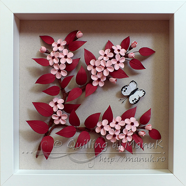 Quilled Cherry Plum Blossom in a Shadobox Frame