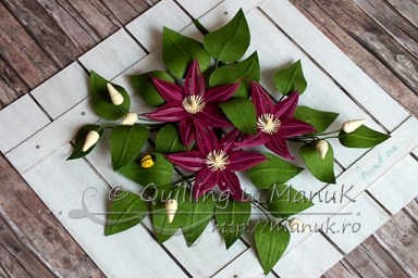 Quilled Clematis Flowers - Side View