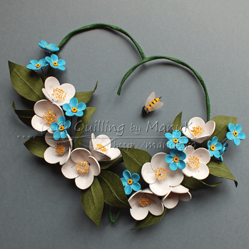 Quilled Jasmines and Forget Me Not Flowers in a Heart