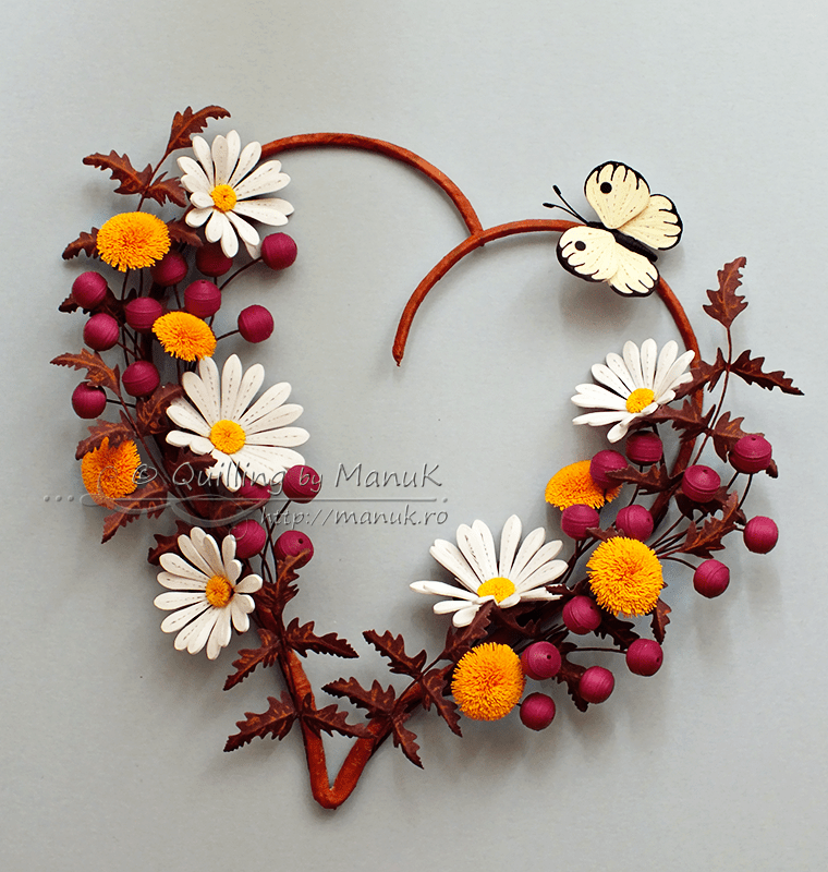 Quilled Daisies, Dandelions and Berries – Flowers in My Heart III