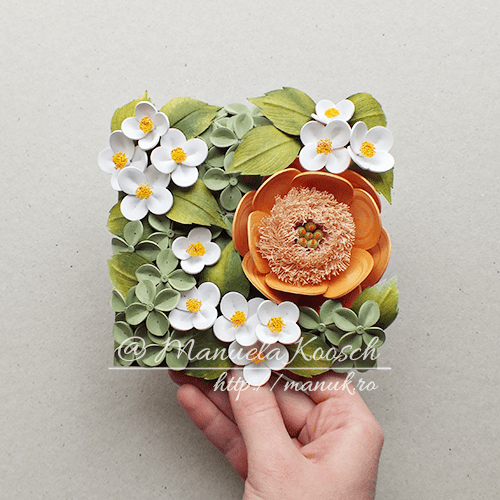 Quilled Peony, Mock-Orange and Hydrangea Flowers Framed Wall Art
