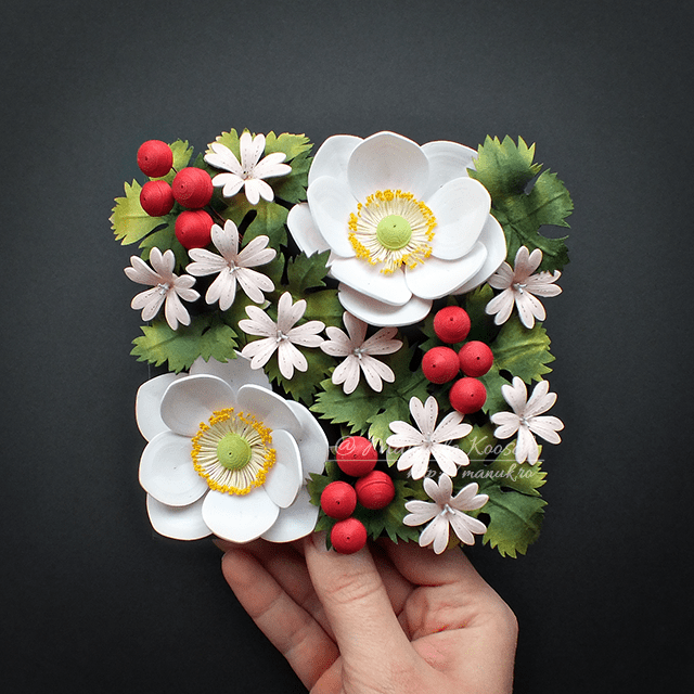 Quilled Anemone and Geranium Flowers Wall Art