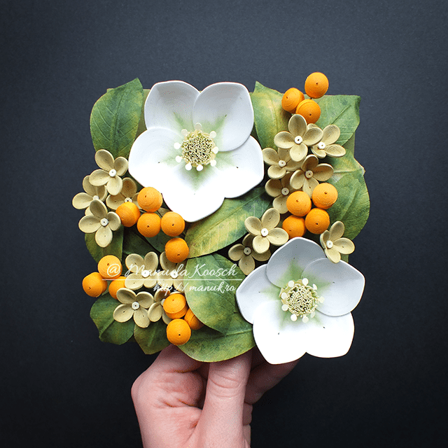 Spring Greenery - Quilled Hellebore Flowers Framed Wall Art