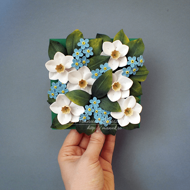 Quilled Daffodils and Forget-me-not Flowers – Floral Tile V