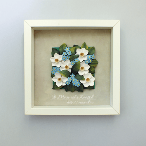 Floral Tile V - Daffodils and Forget-me-not Flowers