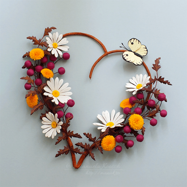 Quilled Daisies, Dandelions and Berries in a Heart