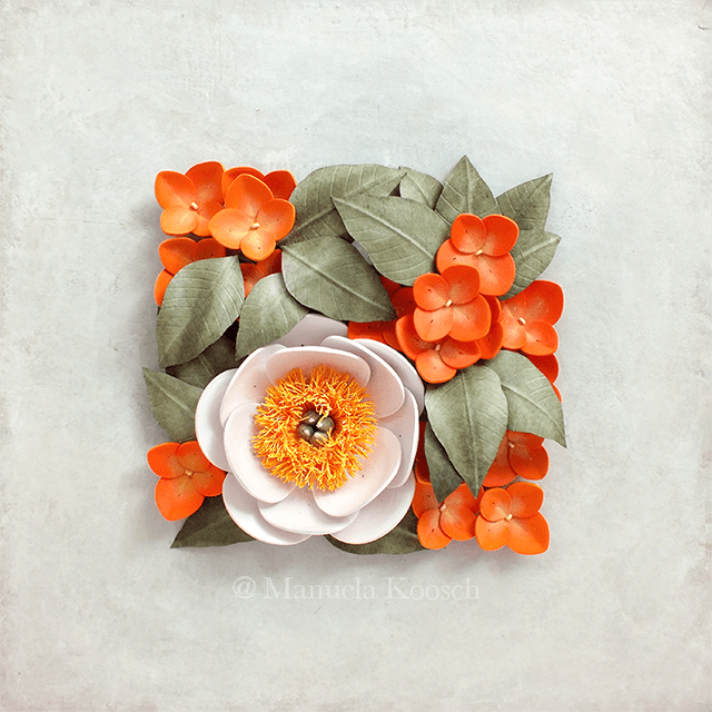 Quilled Peony Wall Art with Hydrangea Flowers