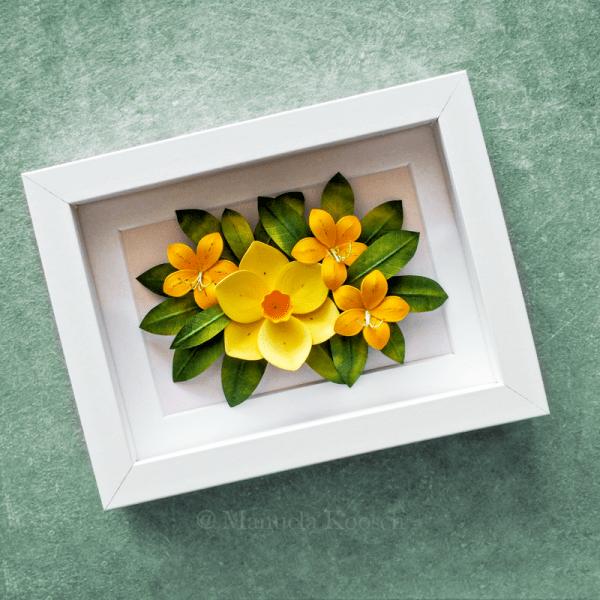 Flowers for Gemini - Paper Quilling Yellow Daffodil Azalea Framed Wall Art