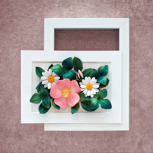 Flowers for Taurus - Paper Quilling Pink Wild Rose and Daisies