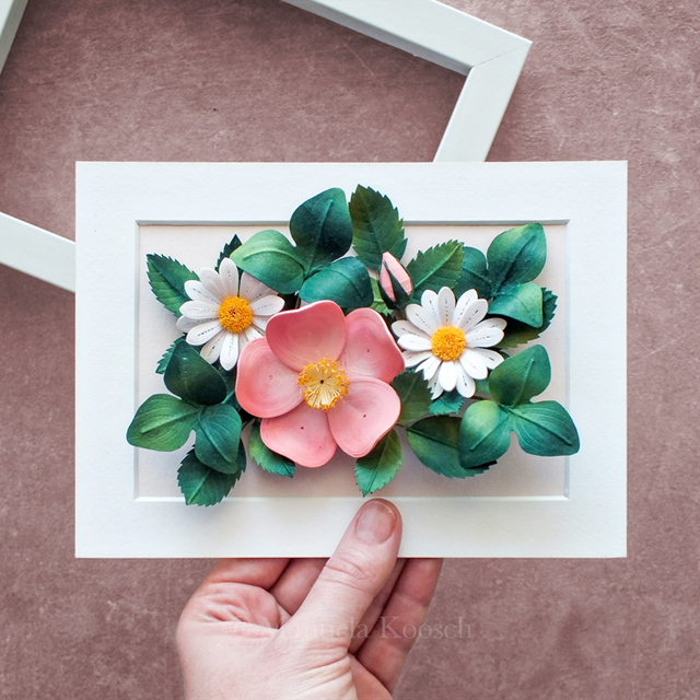 Flowers for Taurus – Paper Quilling Pink Wild Rose and Daisies