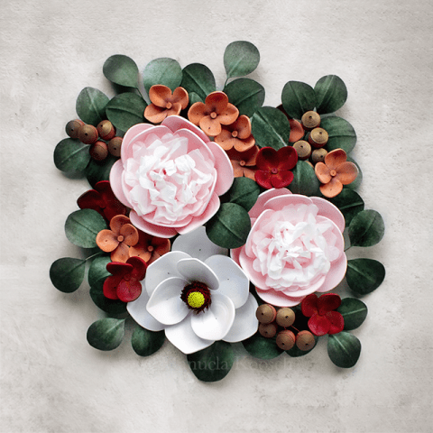 Paper Quilling Flower Arrangement with Peonies, Magnolia and Hydrangea Flowers Wall Art