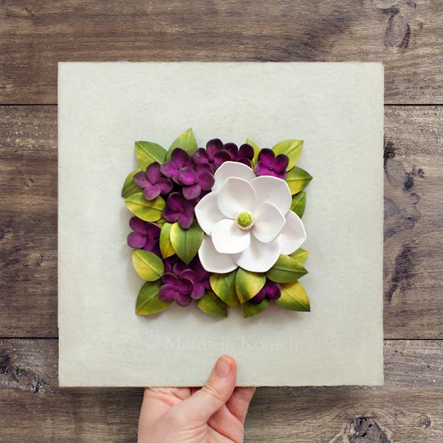 Paper Quilling Magnolia Hydrangea Flowers Wall Art