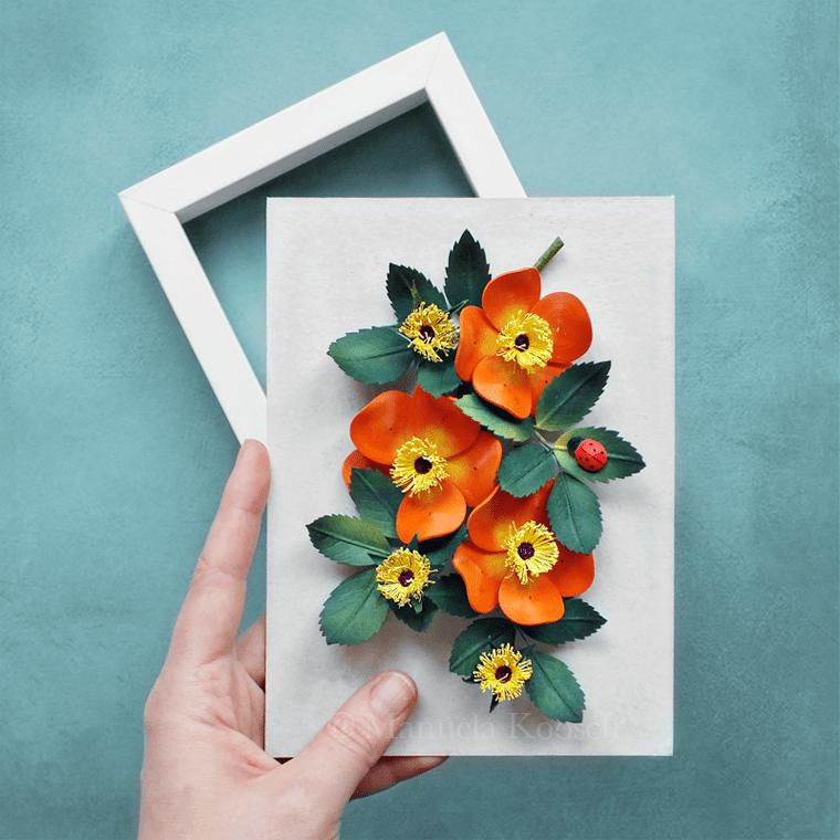Paper Quilling Rose – Orange Wild Rose Wall Art – Rosa Foetida Bicolor