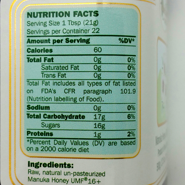 Nutritional Panel Close-Up