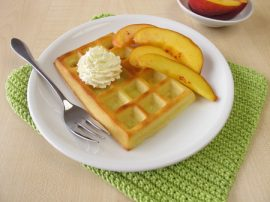 waffles, manuka honey, peaches