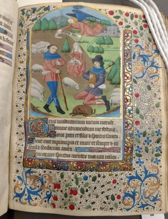 The Annunciation to the Shepherds (Terce, Hours of the Virgin, f. 44)