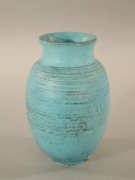 Vase, 1930s-1940s. Gift of Mrs. Luman P. Kelsey, 1977.93.16 (This vase is made of wheel-thrown stoneware with a turquoise and silver glaze.)