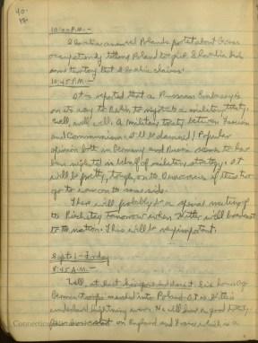 Diary entry September1, 1939. Hitler invades Poland.