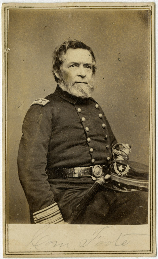 New Haven native Andrew H. Foote commanded the river ironclads at the battles of Forts Henry and Donelson. He died suddenly in 1863 while en route to take command of the South Atlantic blockading squadron. Carte-de-visite photograph by Brady, CHS 1993.73.1