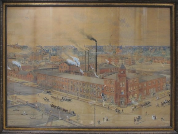 The Billings & Spencer complex occupied almost an entire city block when Hiram P. Arms painted this view in 1898. CHS 2014.X (TR3445_1)