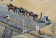 Drop forging equipment often weighed many tons, as seen in this detail of Hiram Arms' watercolor showing a heavy duty dray with a 10 ton forging. CHS 2014.X (TR3445_1dt3)