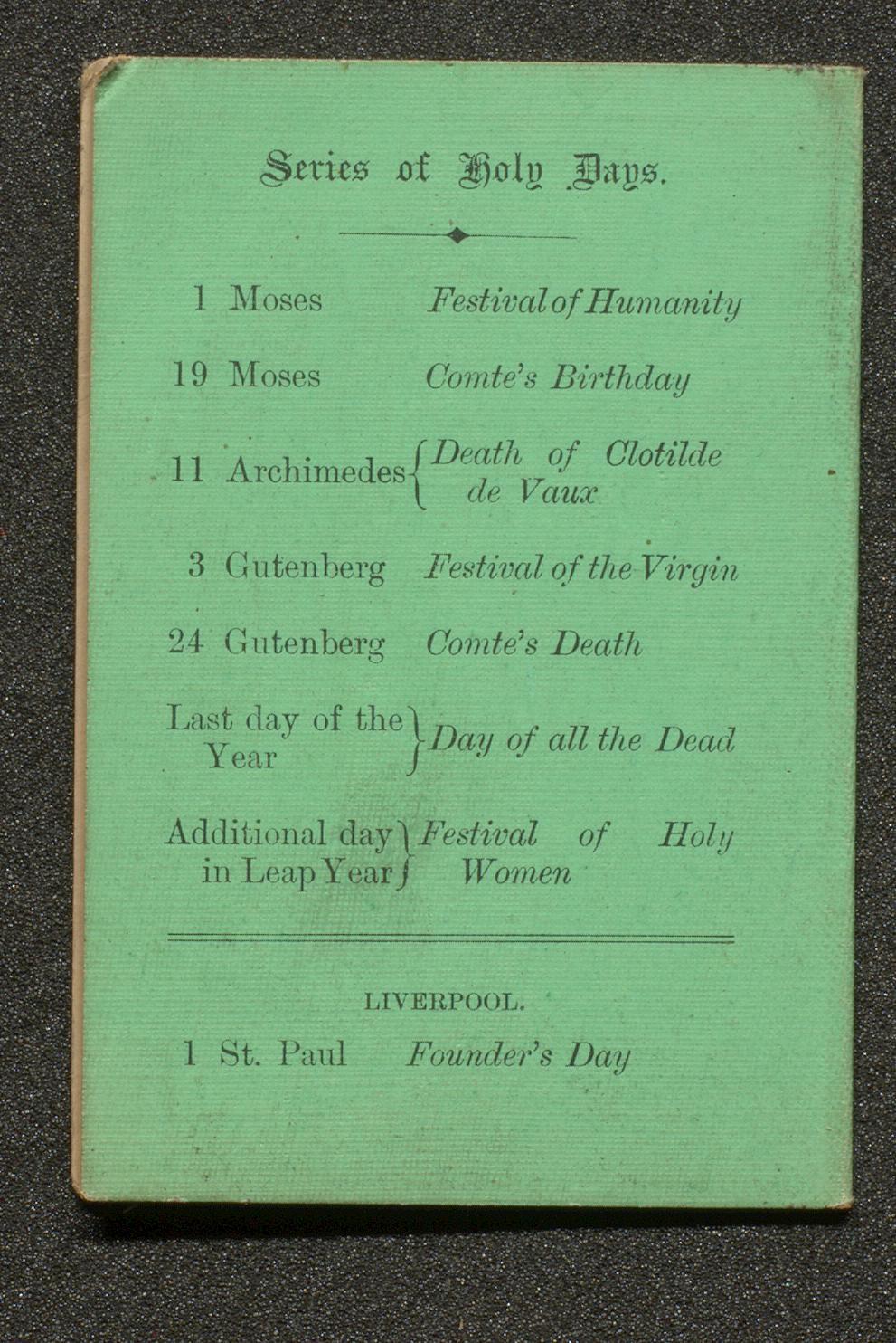 back cover of civil and positivist calendar