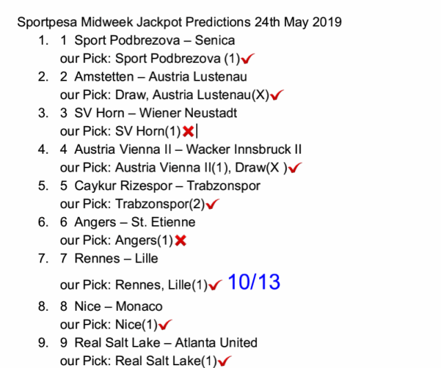 Sportpesa midweek jackpot 30th May 2019