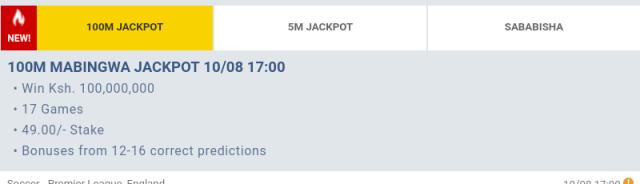 Betika Mabingwa 100M Jackpot Predictions