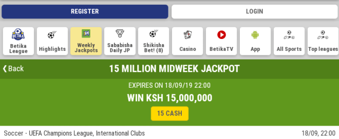Midweek jackpot from Betika 27/05/19