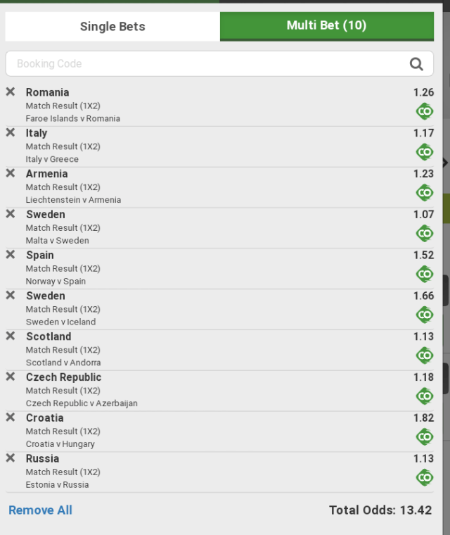 Euro qualifying winning games 12/10/19