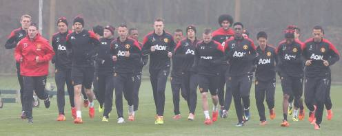The team practicing at Carrington before the Liverpool home game on 16th March.