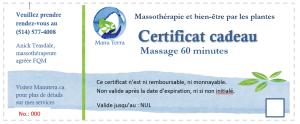 Certificat cadeau massage 60 minutes