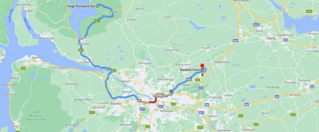 Map to Barbeth Farm
