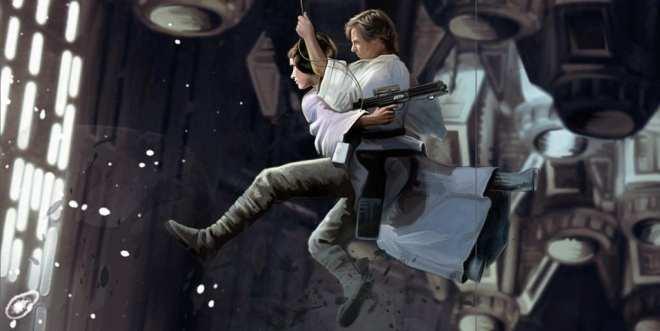 Star Wars Treasury: The Original Trilogy, Luke and Leia swing across chasm in death star, Luke Skywalker, Princess Leia, star wars kids book, Star Wars digital art