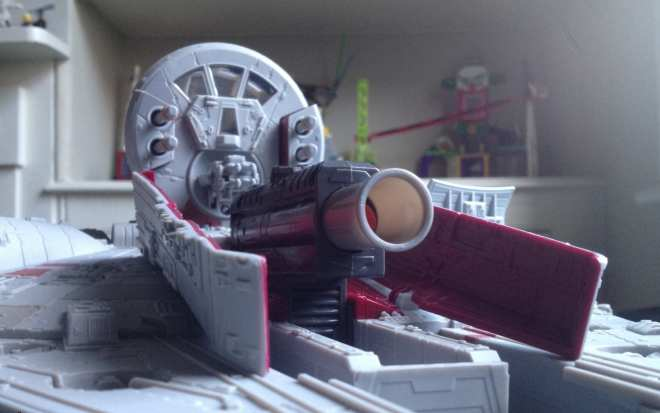 The Battle Action Millennium Falcon Nerf Cannon and Gun Turret