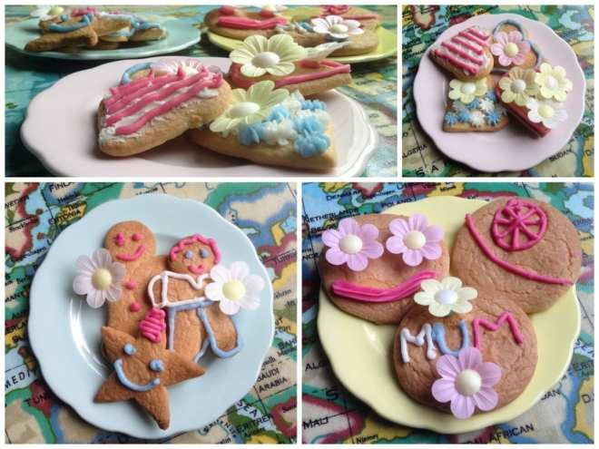 Finished and decorated Mother's Day biscuits