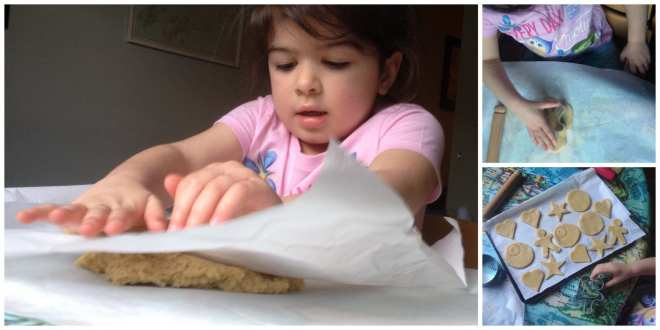 Daughter rolling and cutting Mother's Day biscuits