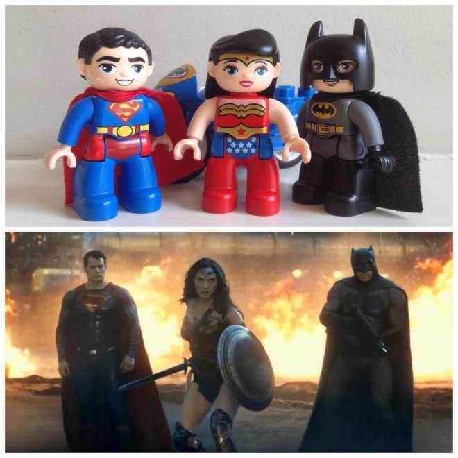 Lego Duplo Justice League trio compared to Movie Justice League, Batman, Superman, Wonder Woman