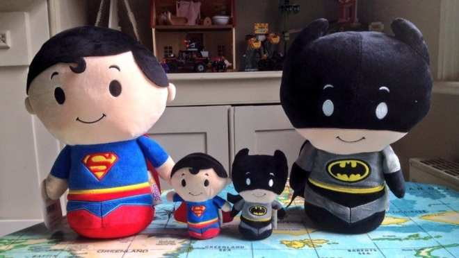 Hallmark's DC Superheroes Itty Bittys Biggies Batman Superman compare size