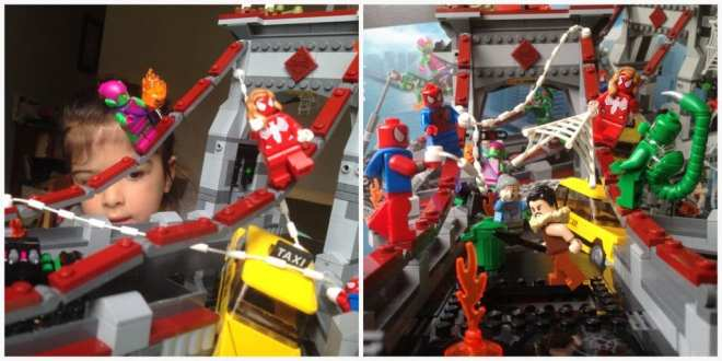 LEGO Marvel Superheroes Spider-Man Web Warriors Ultimate Bridge Battle 76057 playing