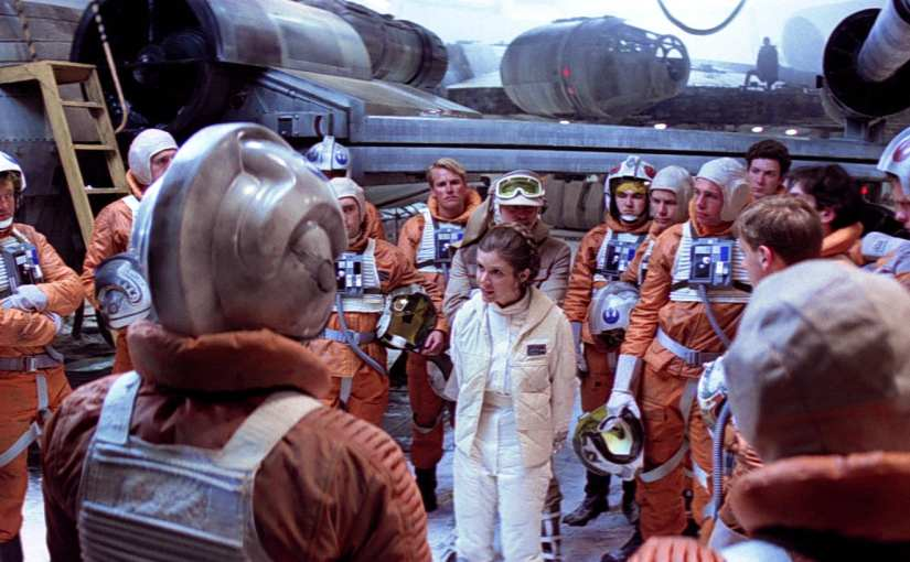 Carrie Fisher as Princess Leia in the Empire Strikes Back, princess leia addressing rebel troops on both