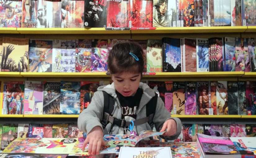 Taking my daughter to her first comic shop (#MySundayPhoto)